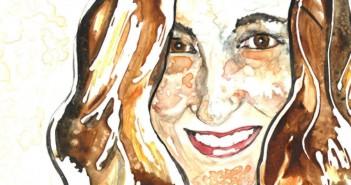 self-portrait watercolor by rachael rossman