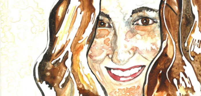 self-portrait watercolor by rachael rossman