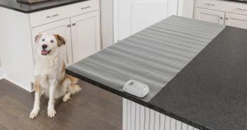 petsafe's scat mat laying on a kitchen counter