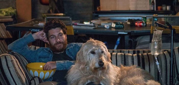 Adam Pally as Dax with Charlie the Dog in DOG DAYS movie