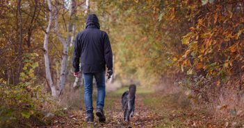 man and his dog walking outside in autumn