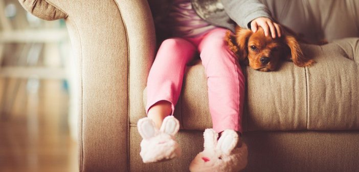 little girl and her dog sitting together on a couch