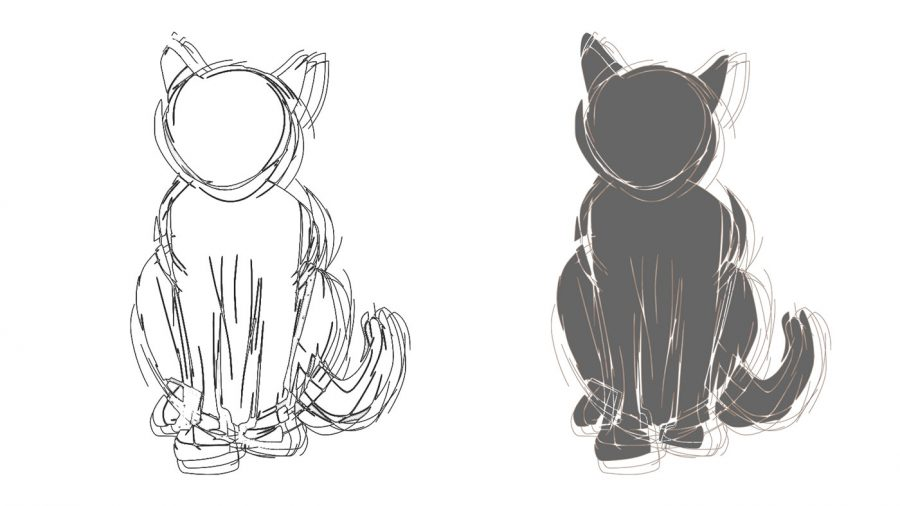 cat sketch shapes