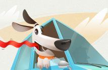 cute graphic of a dog riding in a car with his head stuck out of the window