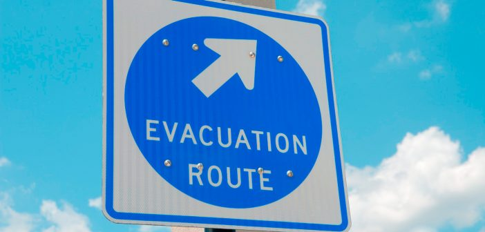 evacuation route street sign
