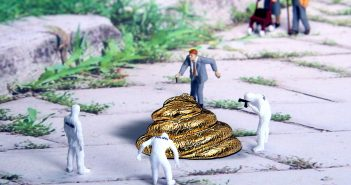 funny representation of investigating dog poop