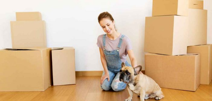 woman moving into n apartment with her dog
