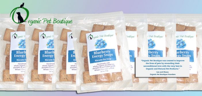 bags of blueberry energy snaps from organic pet boutique