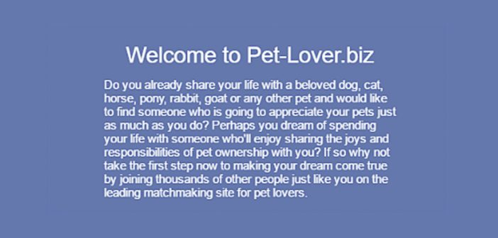 welcome message to pet lovers