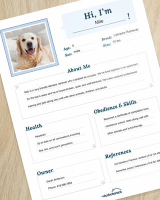 photo of a pet resume example
