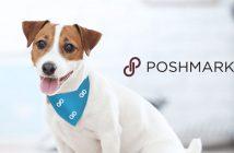 dog wearing a poshmark logo bandana with the poshmark logo in the background