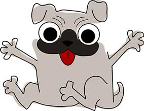 crazy cartoon pug looking for a hug