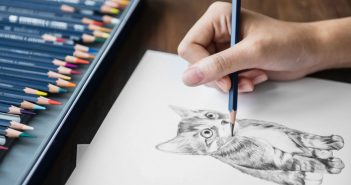 woman's hand sketching a cute little kitten with a pencil