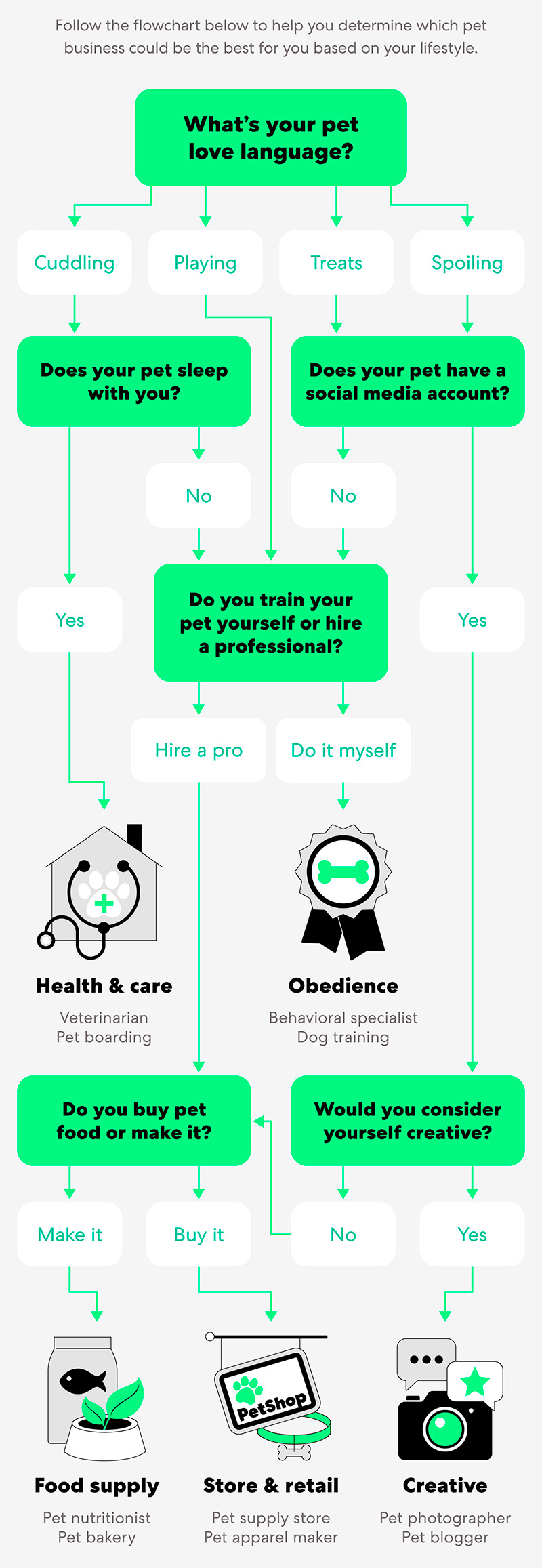 flowchart to help determine what type of pet business would suit a person